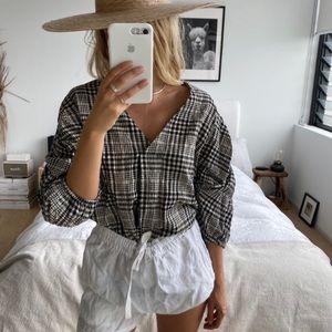 NWT Zara Gathered 3/4 Sleeve Checkered Blouse M